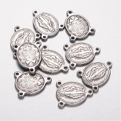 Stainless Steel Miraculous medal Rosary Center parts 1.8cm Wholesale rosary parts bulk prices