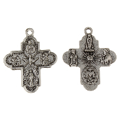"8 or 4 Way Cross Medal with Holy Spirit Antique Silver H-1"" Italy"