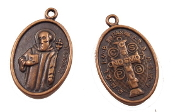 100/Pc Saint Benedict Jubilee Medal Charm COPPER Finish oval 1""