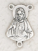 Deluxe Sacred Heart of Jesus Rosary center Parts silver 1.2cm Italy Rosary Parts with 3 eyelets