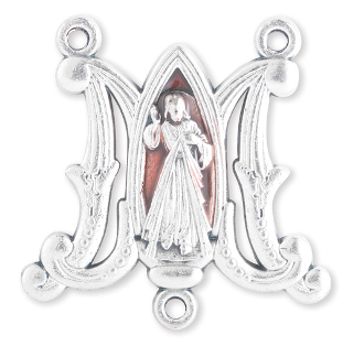 "Deluxe Vintage style Red enamel Divine Mercy Centerpiece 3/4"" Rosary Parts Made in Italy"