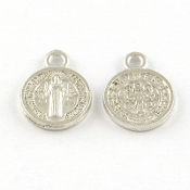10/Pc Tiny Saint Benedict Jubilee Silver Antique medal 1.2cm ROUND