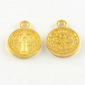 10/Pc Intricate design Miniature St Benedict medal GOLD tone 1.1cm round