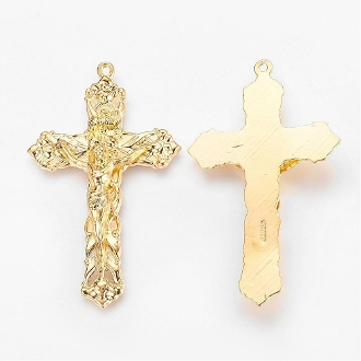 "Gold Plated Crucifix 1 7/8 x 1 1/8"" Rosary Parts or Necklace"