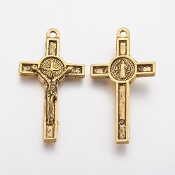 Saint Benedict Crucifix Jubilee Cross Antique Gold Finish 4.0x2.5cm Holy Catholic Cross