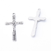 Deluxe Antique Silver Finish Crucifix Jesus Cross 4.4x2.5cm with Spectacular Detail-Antique Silver