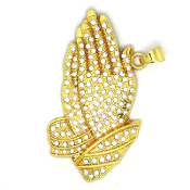 "Deluxe GOLD finish Praying Hands with rhinestones L-3 1/4"" extra large"