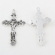 "Silver Antique Crucifix 2"" x 1 1/4"" Rosary Parts or Necklace As Low As $0.75 Each wholesale Catholic crucifixes"