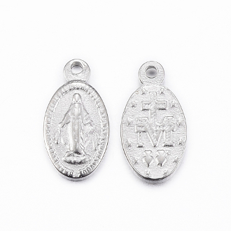 100% Stainless Steel Miniature Miraculous medal oval 1.0x0.7cm. This is the smallest size we stock