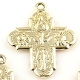 Tiny H-1.9cm Gold Plated 4 Way Cross with Holy Spirit Italy