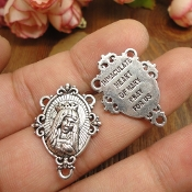 Elegant Holy Virgin Mary Rosary Centers Rosary Parts-Antique Silver Finish Immaculate Heart of Mary 2.6cm x 2.1cm