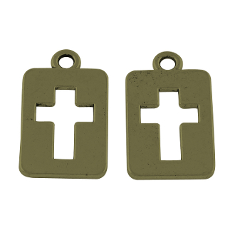 Cut-Out Cross Bronze or Copper Charm pendant 1.7x 1.2 cm