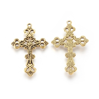 Economical Spectacular Filigree Crucifix Antique Gold Metal Rosary parts-Crucifix Necklace--Rosary Crucifixes Pendant-Italy-Crucifix to make rosaries Inexpensive Catholic Cross