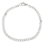 3/Pc 100% Stainless Steel Jewelry Bracelet curb chain 7 1/2""