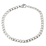 10/Pc 100% Stainless Steel Jewelry Bracelet curb chain 6""