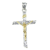 Gold Jesus Silver Cross-Two tone finish Deluxe 100% Stainless Steel Crucifix Rosary Parts or Necklace