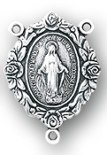 "rosary parts, 1"" Sterling Silver Miraculous Rosary Center"