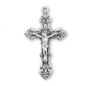 Scrollwork designed crucifix pendant. Solid .925 sterling silver. Medal is die struck. Hand polished and engraved by New England Silversmiths. Sterling silver Rosary parts