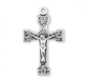 Rosary parts Elegant Extended Leaf Etched Sterling Silver Crucifix