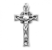 "Rosary parts to make rosaries crucifixes rosary making supplies Deep Relief solid Sterling Silver Crucifix 1.8"" x 1.0"""