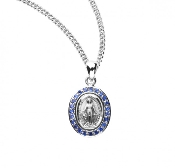 "Blessed Mother Mary with rays Oval shaped double sided medal with 23 sapphire cubic zirconia ""CZ's""Solid .925 sterling silver.Medal is die struck. Hand polished and engraved by New England Silversmiths. Genuine"