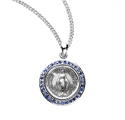 "Miraculous Medal sapphire Cubic zirconia Sterling Silver w/18"" chain Round shaped double sided medal Solid .925 sterling silver. Medal is die struck.Hand polished and engraved by New England Silversmiths"