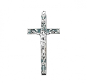 "Rosary parts to make rosaries crucifixes rosary making supplies High Polished Blue Enameled Sterling Silver Crucifix 2.2"" x 1.1"""