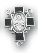 rosary parts, Black Scapular medal Sterling Silver Rosary Centerpiece 2.1cm