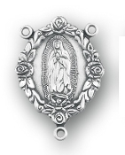 "rosary parts, rosaries, 1"" Sterling Silver Our Lady of Guadalupe Rosary Cente"