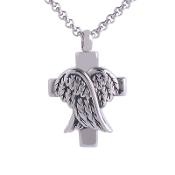 Christian Pendant URNS. Made of solid Titanium Steel Cinerary Casket Necklace Angel WING Cross ash URN Pendant w/Chain Titanium Steel