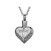 Christian Pendant URNS. Made of solid 316L Stainless Steel Pendant Heart with rhinestone ash URN