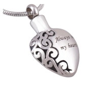 Christian Pendant URNS. Made of solid 316L Stainless Steel Pendant Always in My Heart 316L Stainless Steel Pendant Heart ash URN
