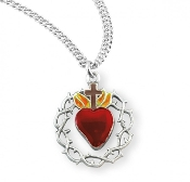 """Crown of Thorns"" red heart medal-pendant Sterling Silver. red enameled heart medal-pendant.Solid .925 sterling silver. Medal is die struck.Hand polished and engraved by New England Silversmiths."