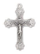 "Our Deluxe Rosary Crucifixes are known for the most beautiful intricate designs Rosary parts 2"" CRUCIFIX WITH 4 EVANGELISTS Silver Oxidized Made in Italy"