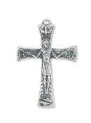 "Our Deluxe Rosary Crucifixes are known for the most beautiful intricate designs Rosary parts 1 1/2"" CRUCIFIX Silver Oxidized Made in Italy"