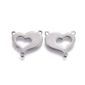 Stainless Steel TWO Hearts Rosary Center 1.4x1.8cmWholesale rosary parts bulk prices