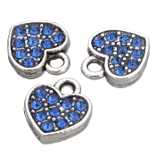 Heart Charm DARK BLUE Rhinestone Antique Silver Double Sided
