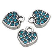 PEACOCK BLUE Rhinestone Heart Charm Antique Silver Double Sidedd