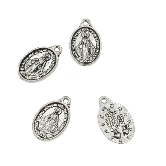 Small Miraculous Medal ANTIQUE Silver Oval 1.7 x 1.2 cm