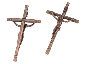 "Large 4"" x 2 1/4"" Copper Finish Catholic Crucifix Cross Largest selection of inexpensive Rosary supplies on the web"