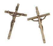 "10/Pc Large 4"" x 2 1/4"" Bronze Finish Catholic Crucifix Cross Largest selection of inexpensive Rosary supplies on the web"