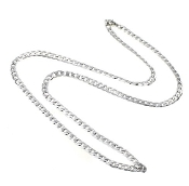 "Rhodium Plated 20"" CURB chain with clasp Silver Finish"