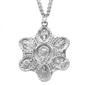 Catholic Seven way Medal in Sterling Silver-Scapular, St Joseph, St Christopher, St Jude, Infant of Pague, St Theresa Little Flower, Miraculous medal and Sacred Heart of Jesus. Our Seven way Pendants are known for the most Beautiful intricate designs