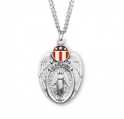 Miraculous Military Medal Shield ARMY, NAVY, MARINES, AIR FORCE Armed Forces pendant sterling silver with Red-White-blue flag Catholic Miraculous medal religious Charm With chain