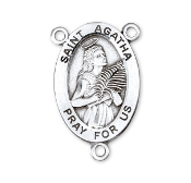 Saint Agatha Sterling Silver Rosary Centerpiece Part 2.2cm rosary parts