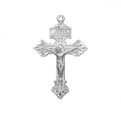 "Small Pardon Crucifix cross Solid sterling silver 1.5"" x 0.9"". Hand polished and engraved by New England Silversmiths."