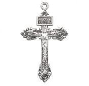 "Small Pardon Crucifix cross Solid sterling silver 1.5"" x 0.7"". Hand polished and engraved by New England Silversmiths."