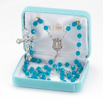 Round 6mm Blue Opal Swarovski Crystal Sterling Silver Rosary. Our Catholic Rosaries all have 100% sterling silver parts-pins, chains, medals, crucifixes and clasps. Exclusive designed center and crucifix in sterling silver. Velvet box, USA. HMH