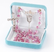 Round 6mm PINK Swarovski Crystal Sterling Silver Rosary. Our Catholic Rosaries all have 100% sterling silver parts-pins, chains, medals, crucifixes and clasps. Exclusive designed center and crucifix in sterling silver. Velvet box, USA. HMH