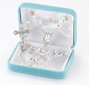 Round 6mm Aurora Borealis Swarovski Crystal Sterling Silver Rosary. Our Catholic Rosaries all have 100% sterling silver parts-pins, chains, medals, crucifixes and clasps. Exclusive designed center and crucifix in sterling silver. Velvet box, USA. HMH